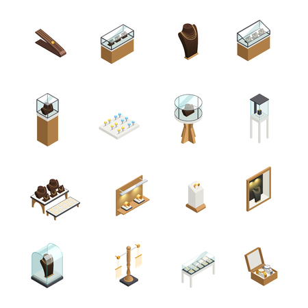Jewelry decorative icons set with elements of shop interior counters showcases pedestal mannequin isometric isolated vector illustration Illustration