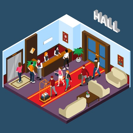 red sofa: Hotel staff and tourists in hall with red carpet elevator reception and waiting area isometric vector illustration