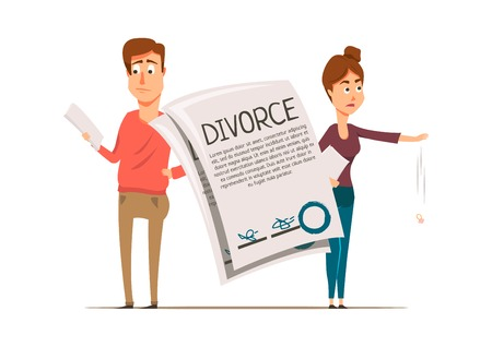 Marriage divorce set flat composition with unhappy partners drawn characters and written contract of marital separation vector illustration