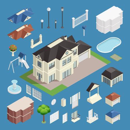 Suburb house isometric set isolated vector illustration Illustration