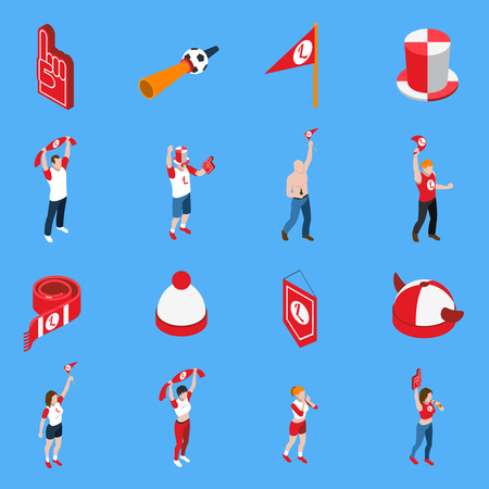 Isometric set of sports fans with accessories including hats and flags isolated vector illustration