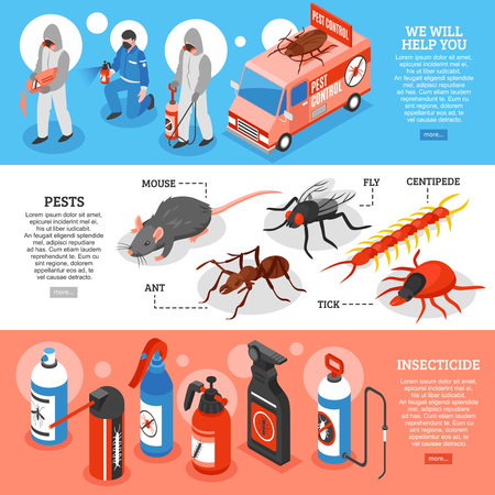 Isometric 3d set of horizontal banners with pest control service workers kinds of insecticide and pests isolated vector illustration