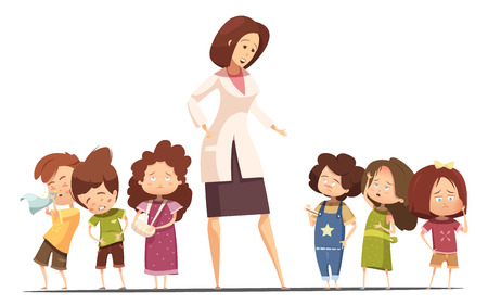 woman headache: Small group kindergarten children with food poisoning and flu symptoms and nurse taking kids temperature cartoon vector illustration
