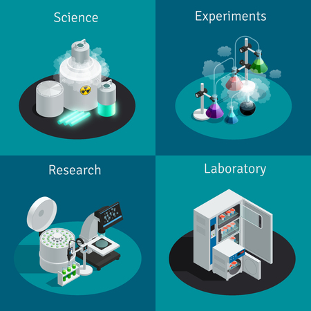 scientific research: Scientific laboratory 2x2 isometric design concept with substance for experiment and equipment for research vector illustration Illustration