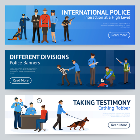 trained: International police force cooperation internet site 3 flat banners set design with trained dog isolated vector illustration