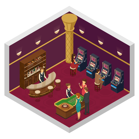 croupier: Colored casino isometric interior with big room with slots and game table vector illustration