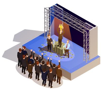 Prestigious business award winner prize giving ceremony podium isometric view