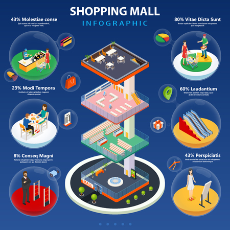 Shopping mall isometric infographic layout with inside interiors and set of spherical icons with personal consultant and customers characters flat vector illustration Ilustrace