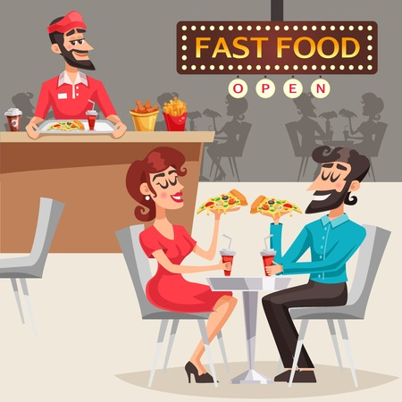 People eating pizza behind table in fast food restaurant and worker behind counter in background vector illustration