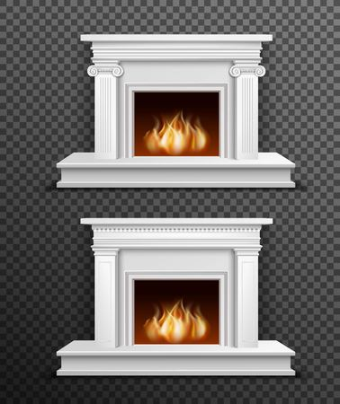 Set of 2 modern white indoor burning fireplaces one under another on black transparent background vector illustration