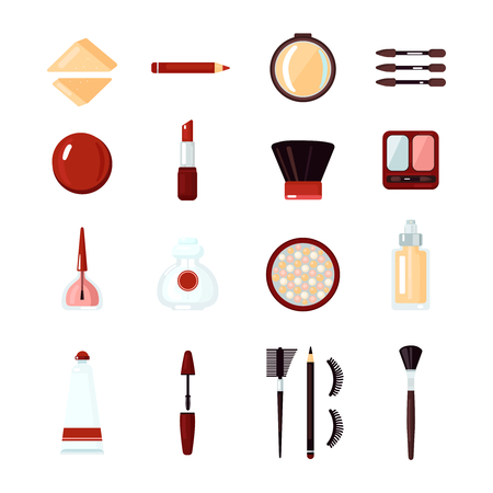 Colored and isolated cosmetics icon set with tools for creating makeup and instruments vector illustration