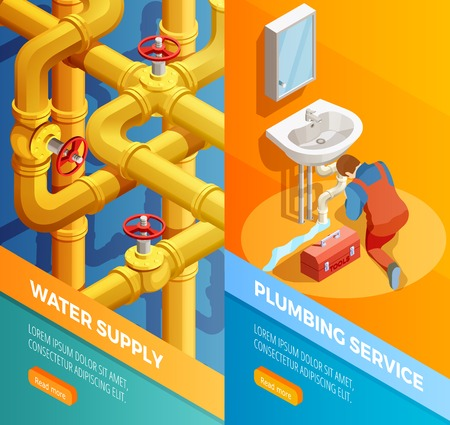 Water supply problems fixing 2 vertical isometric banners set with plumbing leak bathroom sink isolated vector illustration Illustration