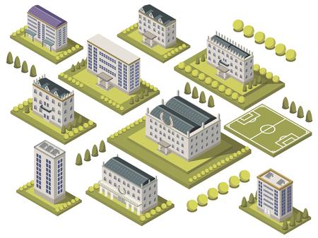Isometrische universiteit ingesteld met sportveld en campus geïsoleerde vectorillustratie Stock Illustratie