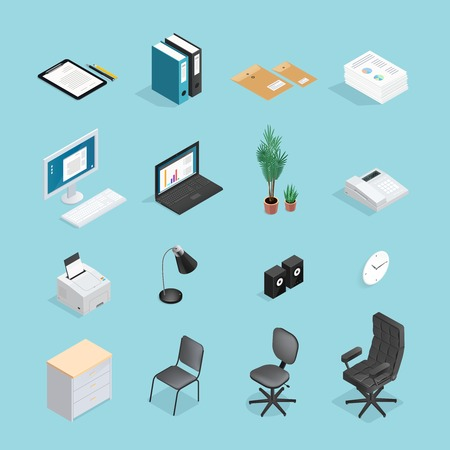 Colored and isolated office supplies isometric icon set with attributes furniture for office vector illustration