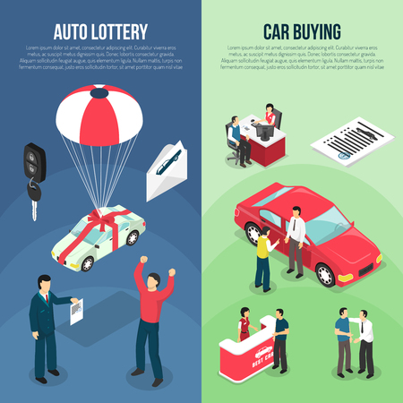 Two colored car dealership leasing vertical banner set with auto lottery and car buying descriptions vector illustration Illustration