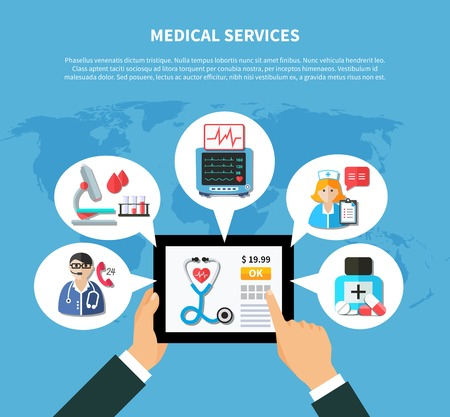 Flat design with online medical services around mobile device in hand on textured blue background vector illustration