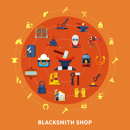 Blacksmith round composition with colorful forged product icons inscribed in circle with hammerwork equipment silhouette pictograms vector illustration Illustration