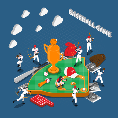 Baseball game isometric composition with players their photos sports equipment and attributes on blue background vector illustration