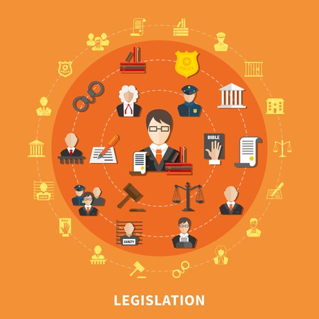 Law round composition with icon set on theme combined in big circle vector illustration Illustration