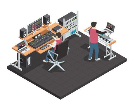 Música estudio de producción de espacio interior isométrico con el ingeniero de sonido y el lugar de trabajo productor arreglo equipado con ilustración vectorial de engranaje