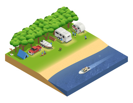 Recreational vehicles on beach isometric composition with people and boat vector illustration Illustration