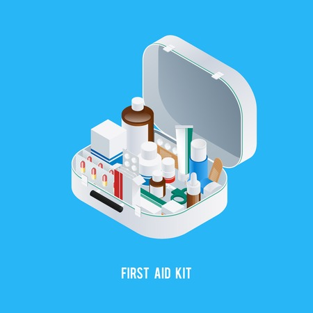 Pharmacy aid kit composition with isometric image of medicine box filled with different drugs and medication vector illustration Imagens - 74881861