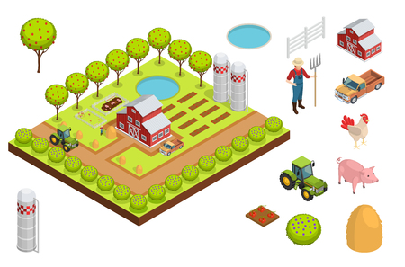 Farm isometric composition layout creating a farm with a house trees seedlings and animals vector illustration