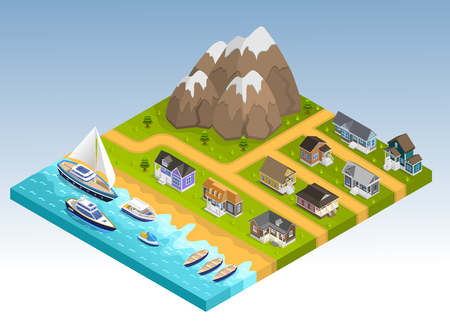 sea of houses: Sea line scape composition with cottage estate isometric houses mountains and coastline with yachts cruisers and boats vector illustration