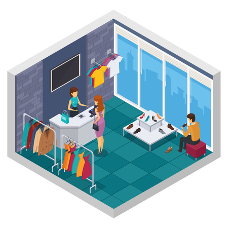 trying: Colored trying shop isometric composition with window wall and store room with buyer vector illustration