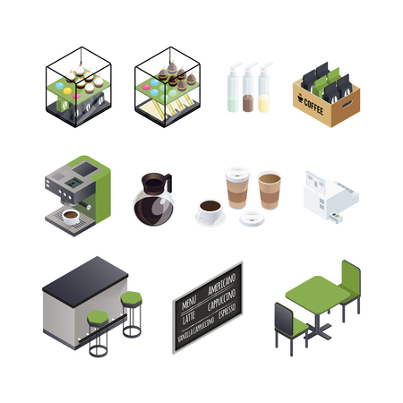 Coffee house isometric elements set with cups black board seats coffee machine and sweet donuts cakes vector illustration