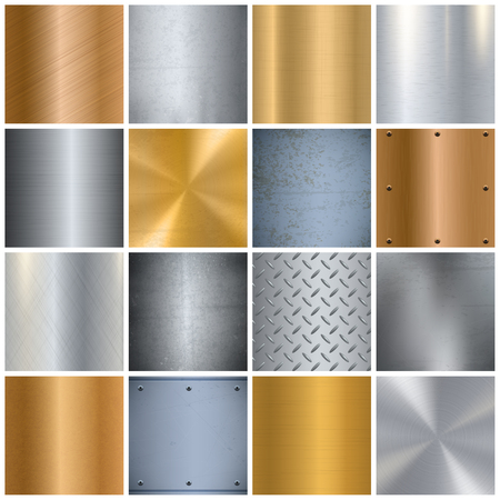 Metal sheets texture realistic big icons set with various surface finish in gold and silver isolated vector illustration