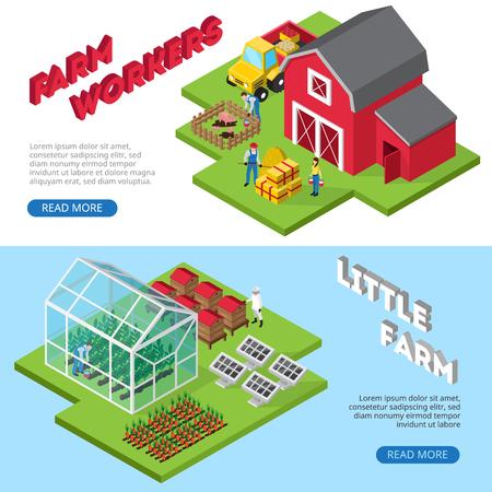 Winstgevende kleine landbouwzaken 2 isometrische websitebanners met van landarbeiders en bedrijfsfaciliteiten informatie geïsoleerde vectorillustratie