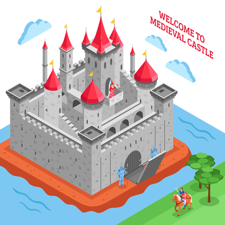 castillo medieval: Isometric colored middle ages european royal castle composition with welcome to medieval castle description vector illustration Vectores