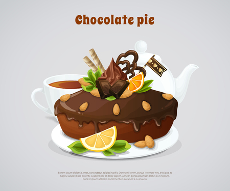 Glazed chocolate pie decorated nuts and fruits with white teapot and cup on grey background vector illustration