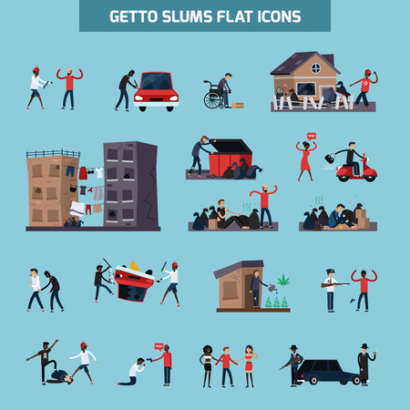 old ruin: Colored and isolated ghetto slum flat icon set with people living in in bad conditions vector illustration