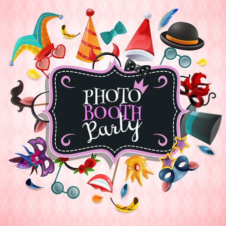 Photo booth party background with vintage invitation plate and frame consisting of carnival props cartoon icons vector illustration Illustration