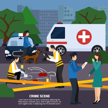 witness: Crime scene with body contour blood traces police experts ambulance car interviewing witness flat style vector illustration