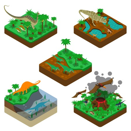 Dinosaurs isometric compositions with terrestrial flying and water reptiles land with plants erupting volcano isolated vector illustration