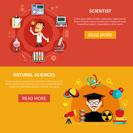 researches: Horizontal natural science banners set with professor, researches and symbols of chemistry, phisics, flat vector illustration Illustration