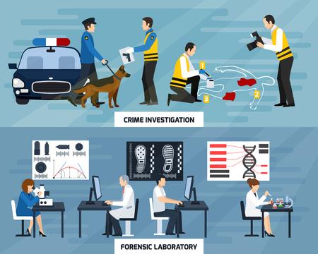 Crime enquête plates bannières horizontales avec des experts de la police et laboratoire médico-légal sur fond bleu isolé illustration vectorielle