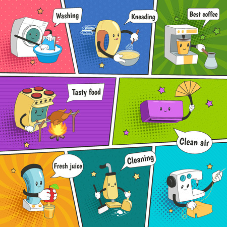 Household appliances bright colorful comic page with funny icons showing home electrical equipment as cartoon characters flat vector illustration