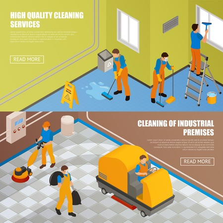 premises: Two horizontal isometric industrial cleaning banner set with high quality cleansing service and cleaning of industrial premises descriptions vector illustration