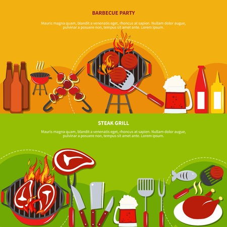 drinks party: Steak grill on barbecue party with food and drinks on two horizontal banners vector illustration Illustration