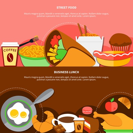 Street food and healthy business lunch 2 flat banners with chicken fried eggs and coffee isolated vector illustration