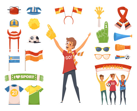 Colored and isolated fan rooter buff male character accessories with tools to cheer for your favorite team vector illustration