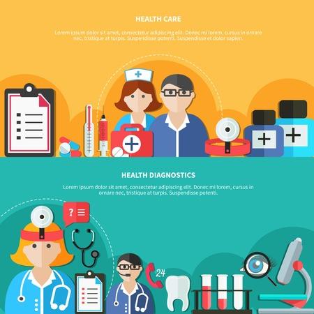 Horizontale flache Fahnen mit den medizinischen Personaldrogen des Gesundheitswesens und der Diagnosen und Ausrüstung lokalisierten Vektorillustration