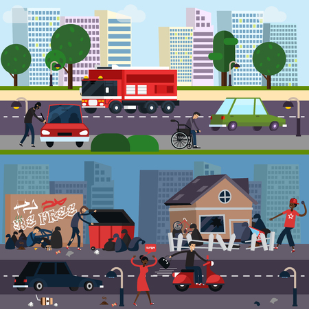 Downtown and ghetto character composition set distinctions of different segments of the population vector illustration Illustration