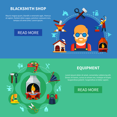 Blacksmith shop equipment store horizontal banners set with compositions of colorful doodle images of various items vector illustration