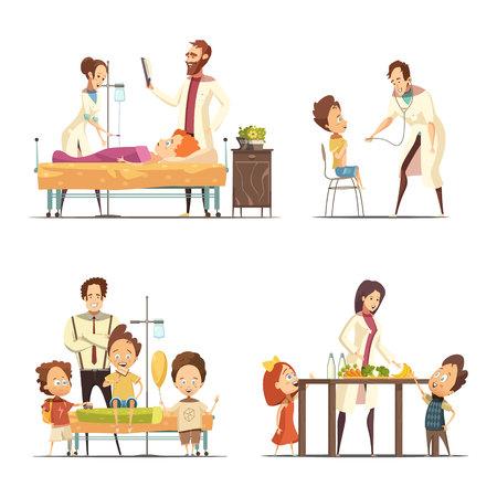 Zieke kinderen behandeling in het ziekenhuis 4 retro cartoon iconen met dokters verpleegkundige en ouders geïsoleerde vector illustratie Stock Illustratie
