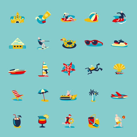 sun cream: Summer beach vacation symbols people and accessories retro icons collection on water blue background isolated vector illustration